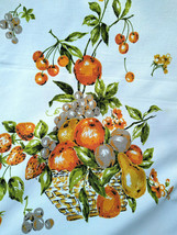 FuN Vintage Fruit Basket Graphic Tablecloth Orange Avocado Fall Colors  ... - $24.00