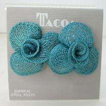 Vintage 80's NOS Wicker Rattan Blue Flower Pierced Stud Earrings New Jewelry - $14.83