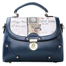 Fashion Print Big Ben Navy Leather Handbag