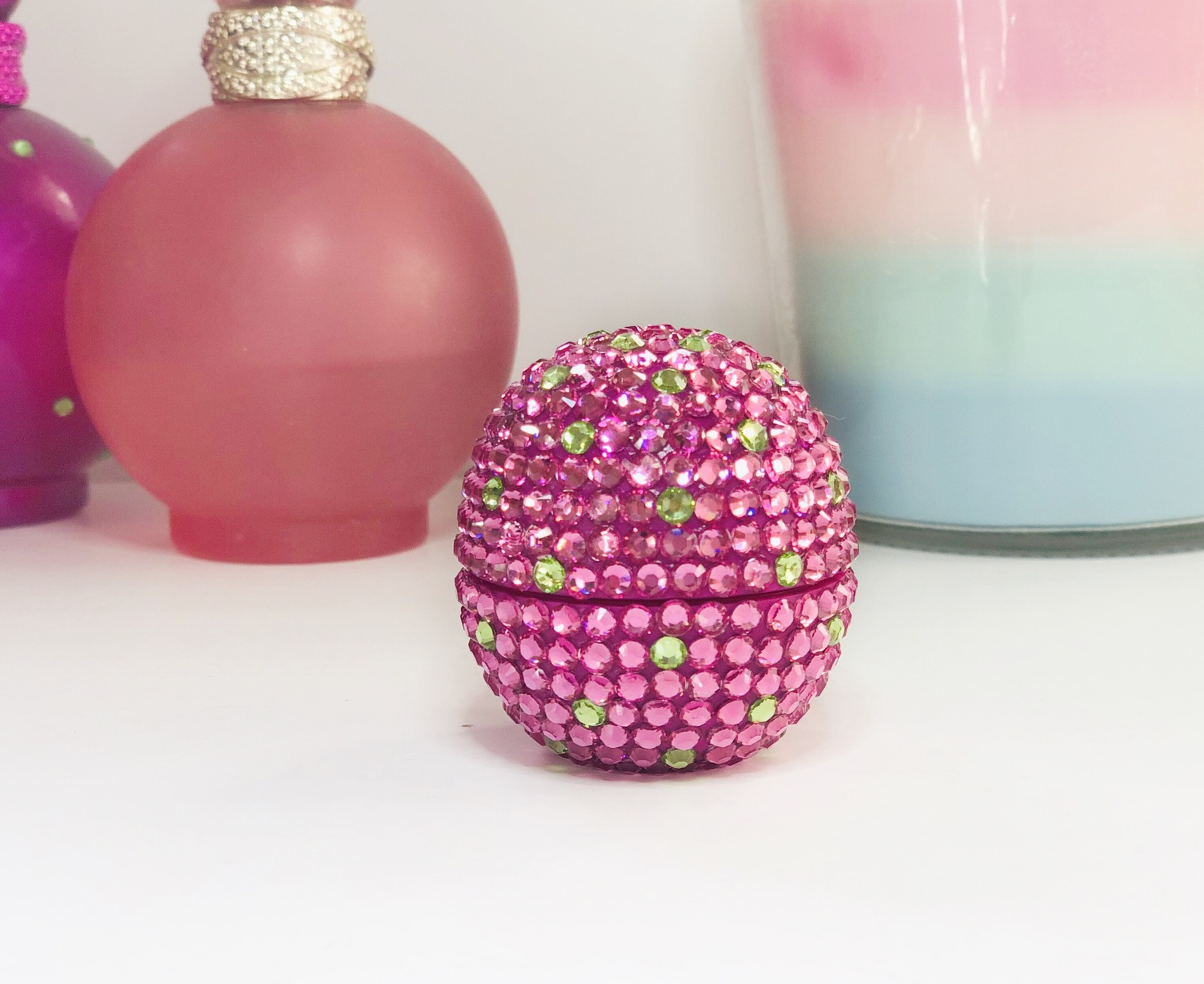 Embellished organic eos lip balm. Wildberry, Britney Spears Fantasy inspired.
