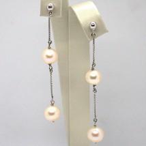 Ohrringe Anhänger Weißgold 18K, Kette Venetian, Perle Pink, Fischen, 8 MM image 1