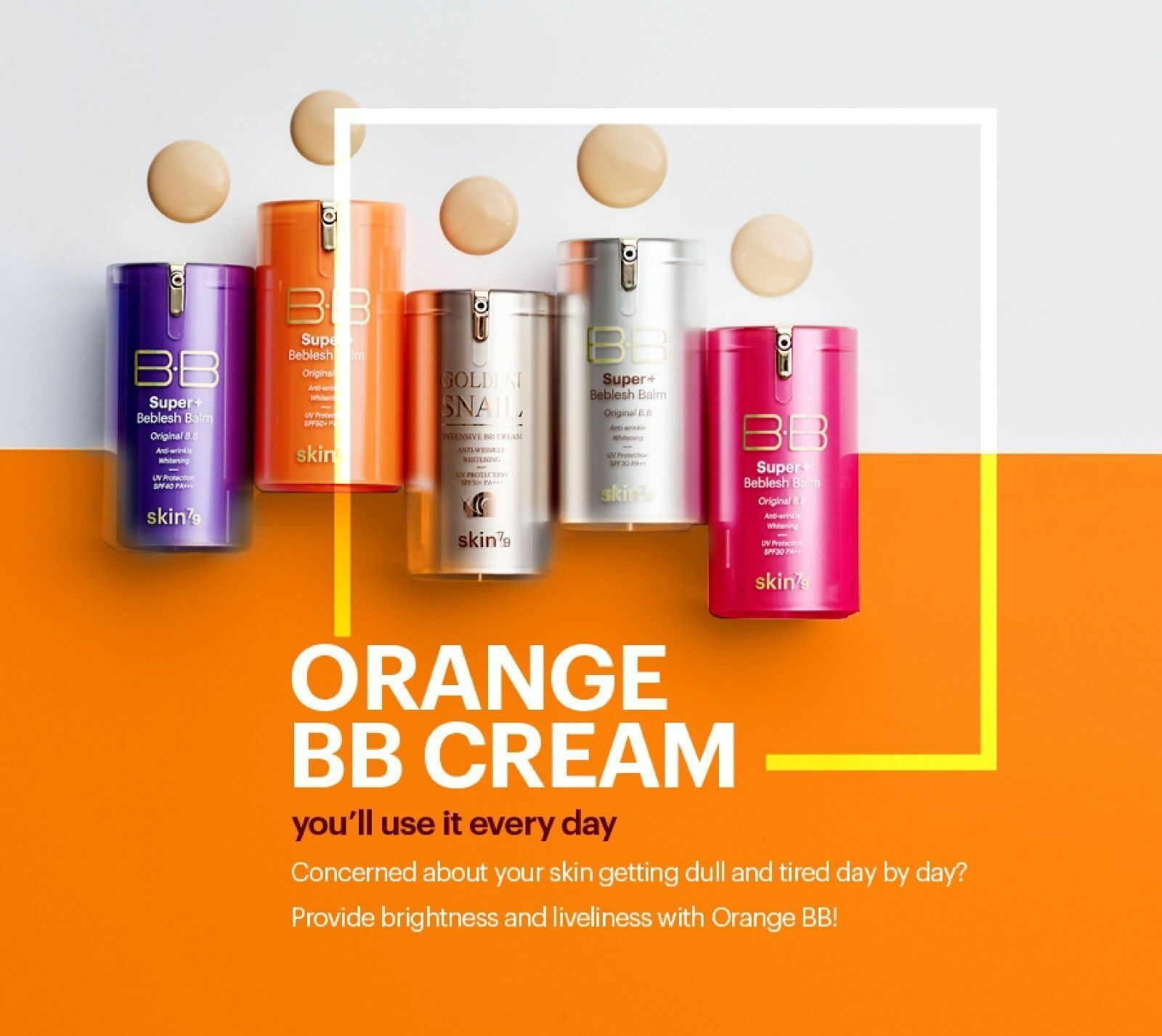 SKIN79 ORANGE BB CREAM SUPER+ BEBLESH BALM 40g Yellow Beige 23 /Mini BB Cream 7g