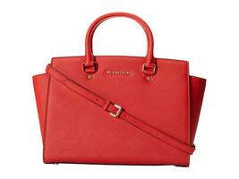 Michael Kors Women's Selma Large Top Zip Satchel Satchel Handbag Red - $230.00