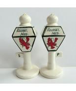 Vintage Salt and Pepper Shakers Ceramic Lamp Post Lobster Rockport Massa... - $10.00