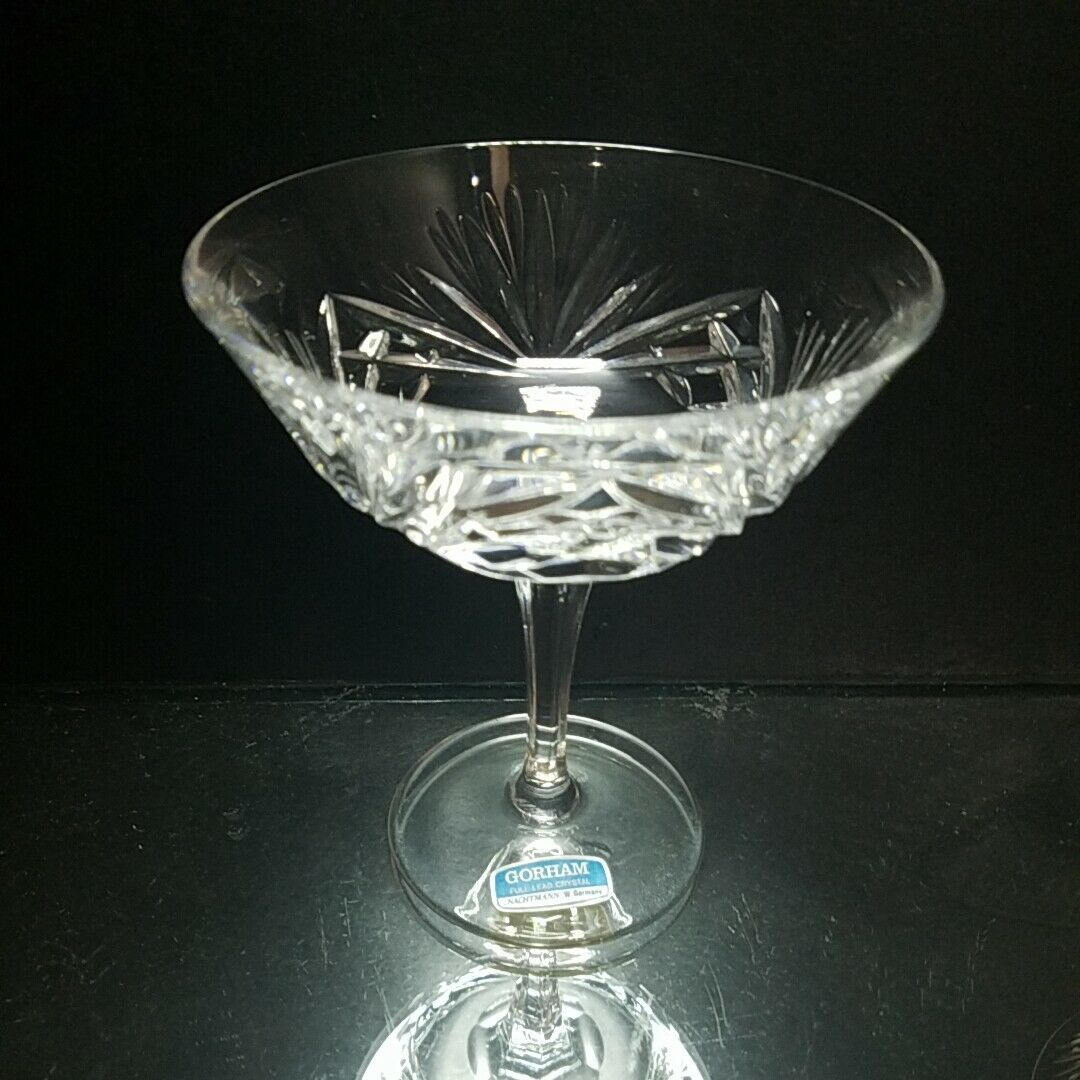 1 (One) GORHAM CHERRYWOOD CLEAR Cut Lead Crystal Champagne Tall Sherbet Glass image 2