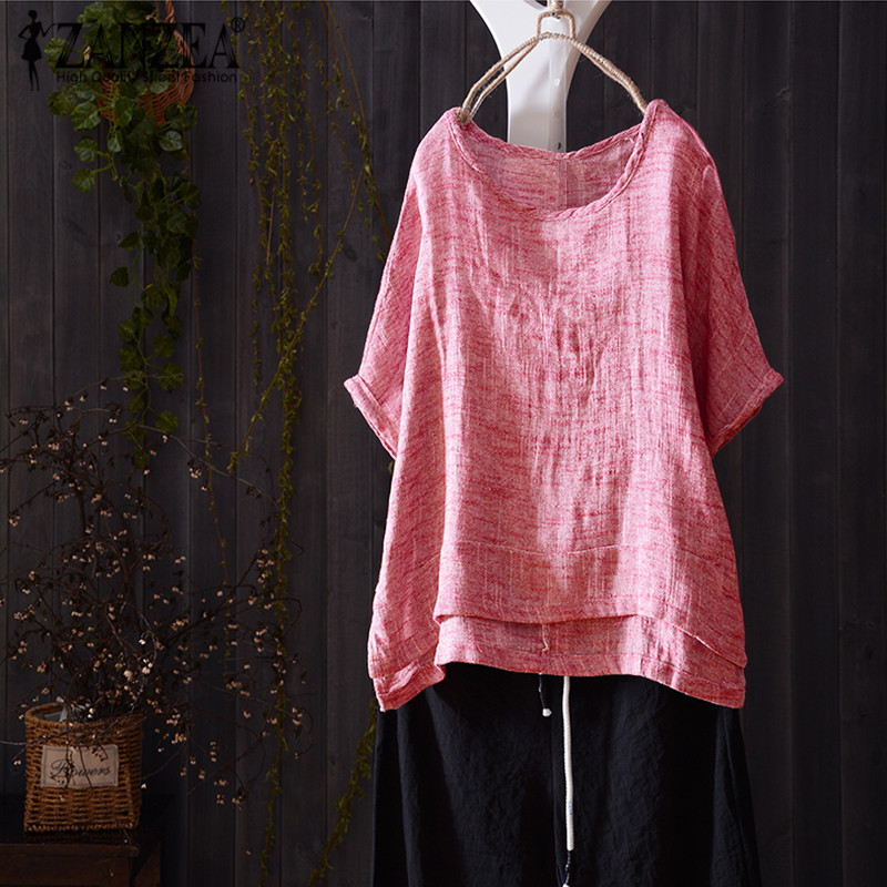 2018 ZANZEA Women Blouse Summer Casual O Neck Short Batwing Sleeve Solid Vintage