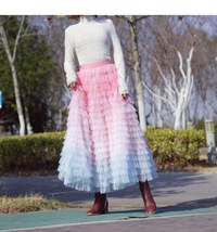 Women Maxi Tiered Tulle Skirt Outfit Plus Size Pink Blue Romantic Party Outfit image 1