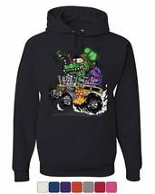 8 Ball Yellow Hot Rod Hoodie Crazy Green Monster Rat Muscle Car Sweatshirt - $23.24+