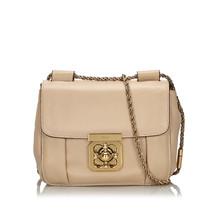 Pre-Loved Chloe Brown Beige Others Leather Elsie Shoulder Bag France - $452.54