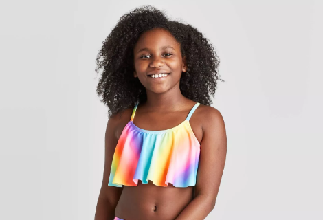 Primary image for Girls' Flounce Tie-Dye Bikini Swimsuit Top- Cat & Jack™ Multi