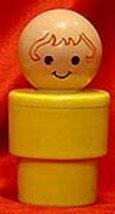 VINTAGE FISHER PRICE 1974 JUMBO LITTLE PEOPLE YELLOW ROUND BABY WITH RED... - $20.80
