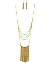 "32"" Womens Ladies Long Goldtone Chains Metal Dangle Necklace Earrings Set - $19.97"