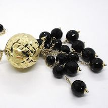 Silver necklace 925, Yellow, Large Machined Ball, BLACK ONYX Waterfall image 5