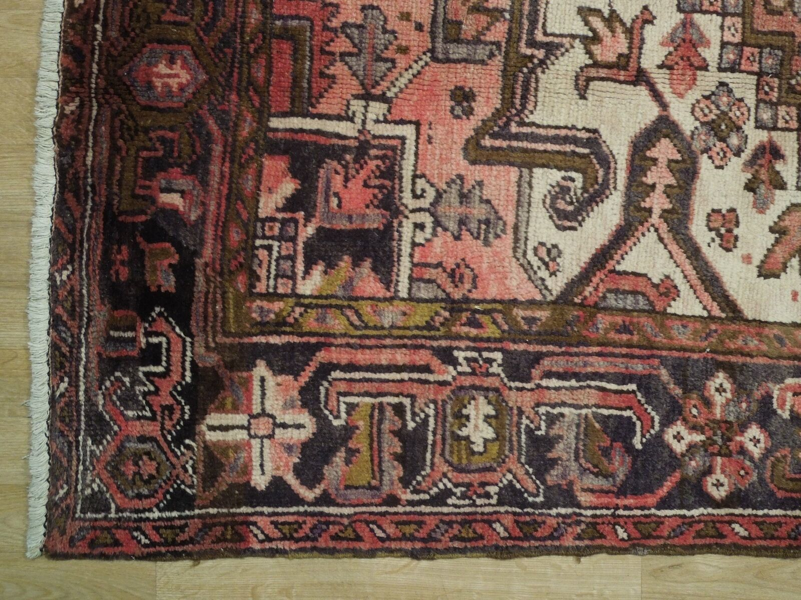 8x11 Red Heriz Wool Handmade Rust Worn-out Antique over 100 y o Persian Rug image 7