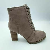 Bamboo Womens Ankle Boots Booties Brown Block Heel Zip Up Round Toe 10 New - $20.77