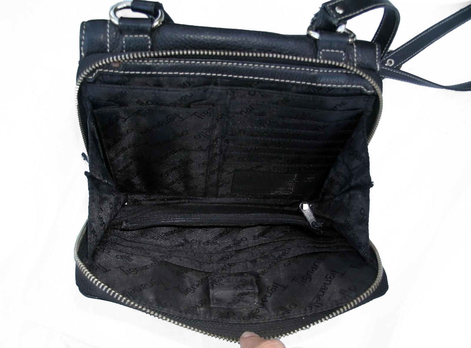 Tignanello Black Pebbled Leather Organizer Crossbody built in Wallet image 12