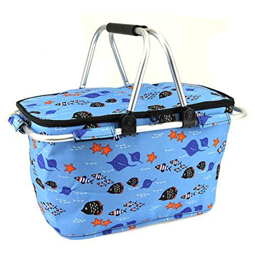 scarlettsbags Fish Sea Life Print Metal Frame Insulated Market Tote Blue