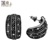 TANGKA 2017 new European and American high-grade tin alloy leaves earrin... - $8.35