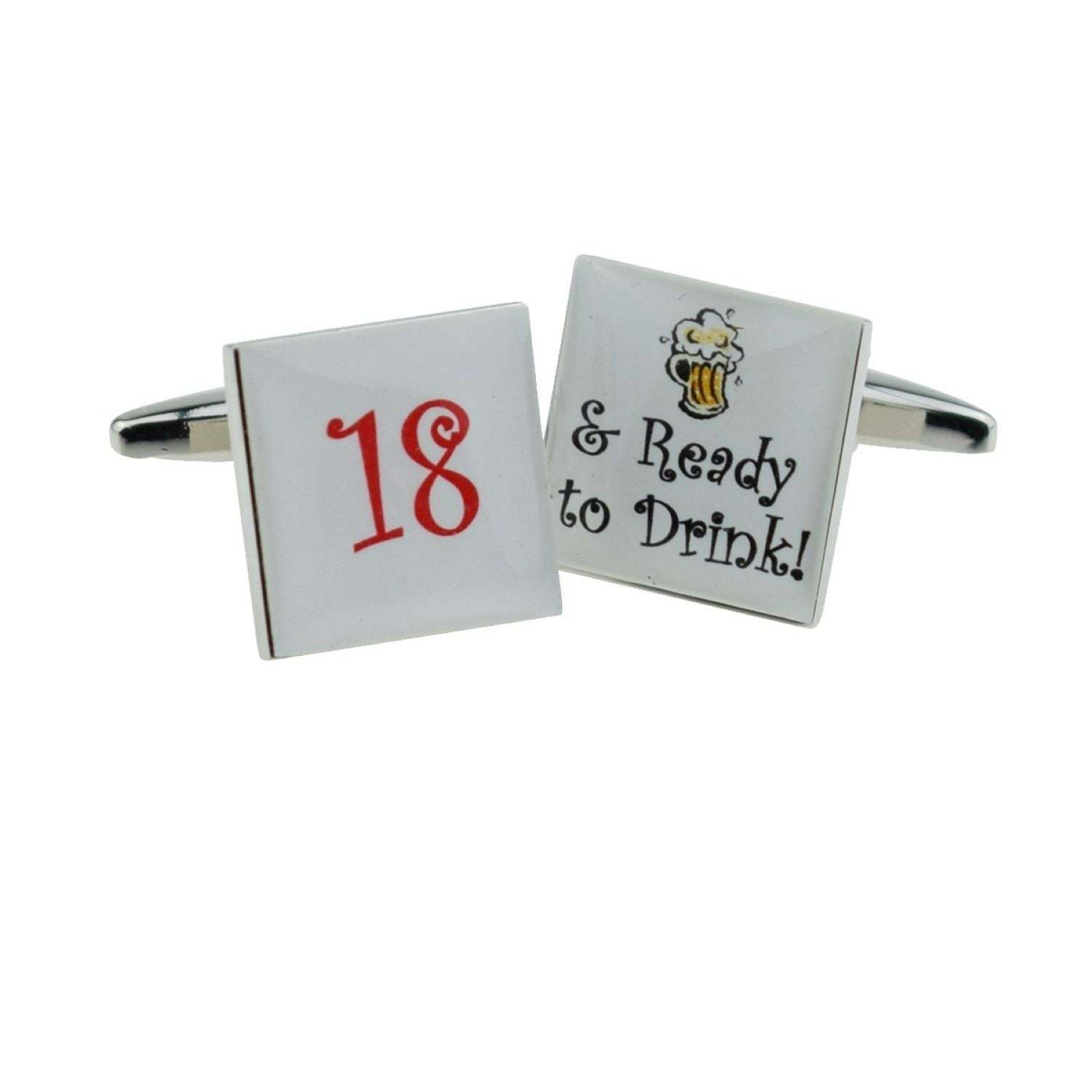 Cool 18 & Ready to Drink Cufflinks  . gift boxed cufflinks ideal gift,