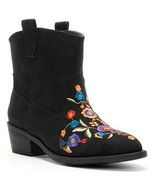 Mudd Black Faux Suede Womens Western Embroidered Floral Ankle Boot Boots 6M - $59.99