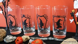 Crate & Barrel Witch Glass Tumblers (4) -NIB- Scare Up Some Beverage Fun! - $49.95