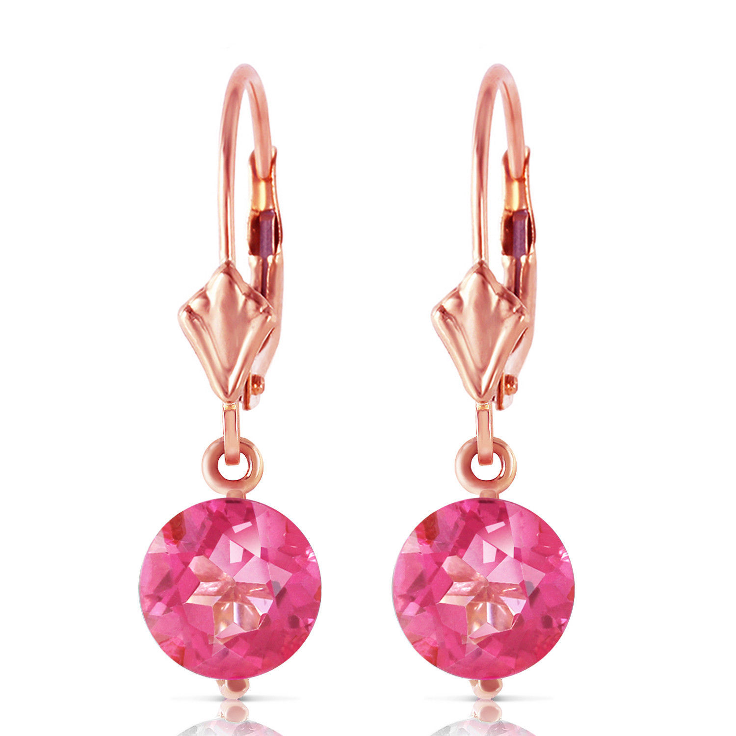 Primary image for 3.1 Carat 14K Solid Rose Gold Youth Pink Topaz Earrings Womens Natural Gemstone