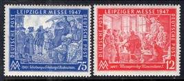 1947 Leipzig Autumn Fair Set of 2 Germany Stamps Catalog Number 580-81 MNH