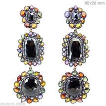 Sapphire Gemstone Black Spinel Long Dangle Earrings 14k Gold Pave Diamond Silver - $1,921.44