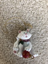 Russ Berrie Wags to Whiskers White Cat Christmas Ornament - $6.99