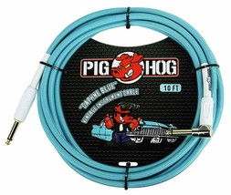 "Pig Hog - PCH10DBR - 1/4"" to 1/4"" Right-Angle Guitar Cable - Daphne Blue... - $19.75"