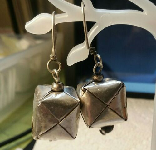 Primary image for Vintage Jewelry: Unmarked Silver Origami Box Pierced Earrings170220