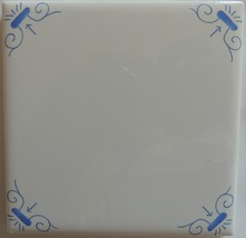 Blue and White Tile Delft Style Oxen wall tile  - $4.00