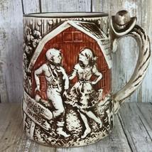 Vintage Enesco Square Dance Tonight Coffee Mug Large Cowboy Ranch 3 Cups 1978 - $66.99
