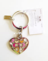 Coach Signature C Pierced Heart Key Ring Chain Fob NWT - $42.00