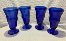 Anchor Hocking cobalt blue ice cream float, soda, sundae, parfait, vtg set of 4 - $19.79