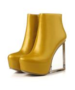 91B010 Lady's crystal wedge booties, 13.5 cm heel,size 4-8.5, yellow - $98.80