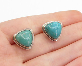 925 Sterling Silver - Vintage Cabochon Cut Turquoise Shiny Drop Earrings... - $28.25