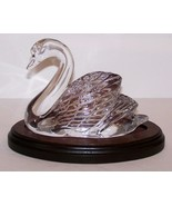 """LOVELY 1996 WATERFORD SOCIETY CRYSTAL SWAN 4"""" FIGURINE/SCULPTURE ON WOOD... - $113.59"""