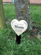 Mom Metallic Heart Memorial Remembrance Plaque Stake - GOLD / SILVER / C... - $35.30