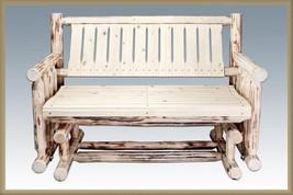 Outdoor Wood Gliders - Amish Made Rustic Log Porch Glider Bench - NEW - $585.06