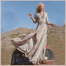 Bohemian Autumn Country Print Frock Long Sleeve Flowing Chiffon Maxi Dress image 2