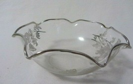 VINTAGE CRYSTAL BOWL WITH SILVER INLAY FLOWERS 7 POINTS CRIMPED SILVER  ... - $18.99