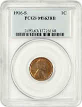 1916-S 1c PCGS MS63 RB - Lincoln Cent - $213.40