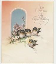 Vintage Birthday Card Birds at Window God Bless You The Sunshine Line 19... - $7.91