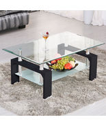 Rectangular Glass Coffee Table Set Wood Chrome Living Room Furniture Mo... - $64.95
