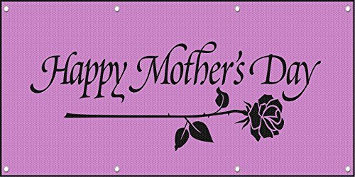Happy Mother's Day Pink MESH Windproof Fence Banner Sign w/Grommets 3 ft x 6 ft