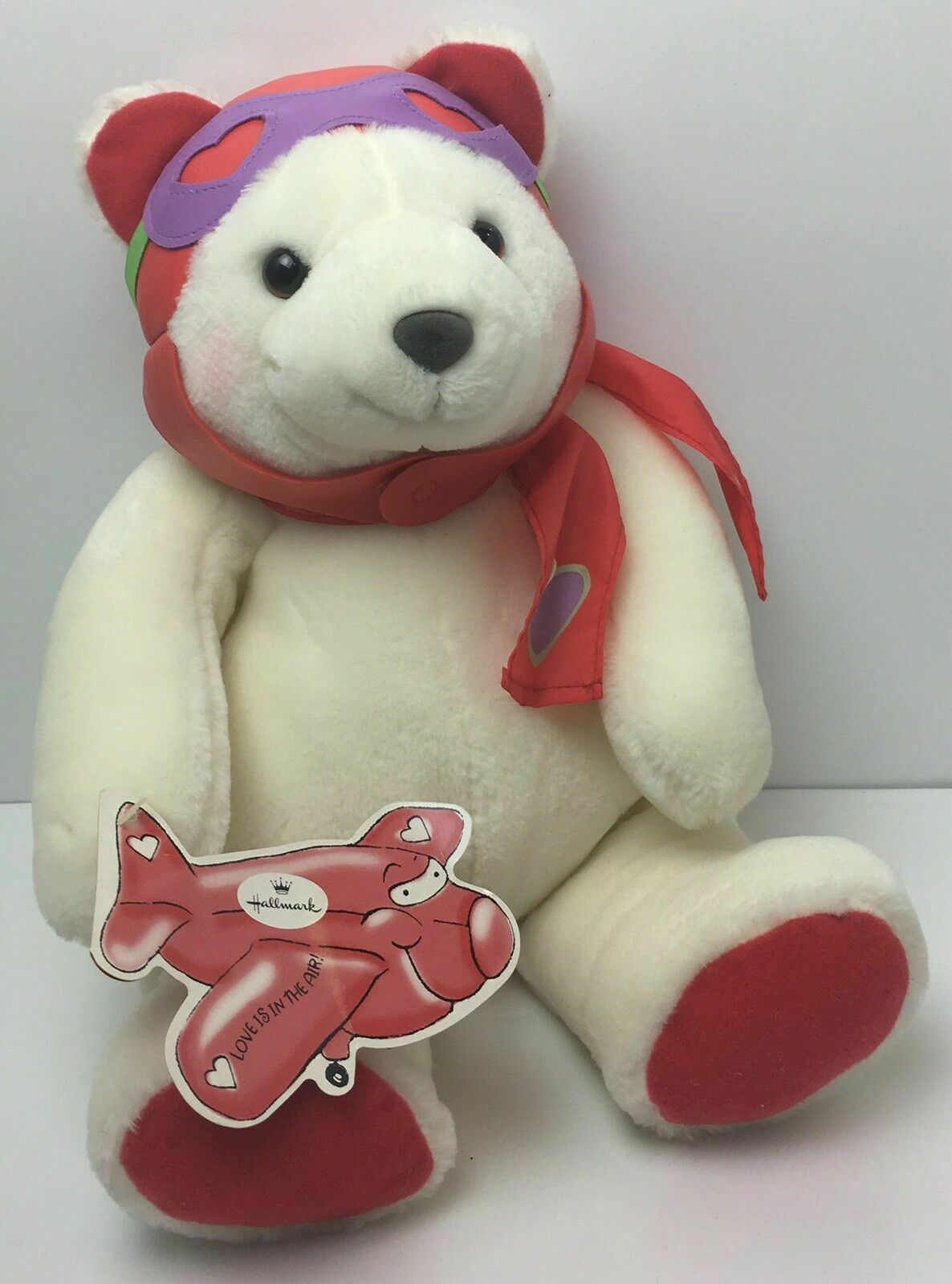 "Primary image for Hallmark Pilot Plush White & Red Teddy Bear Love is in the Air 14"" Valentines"