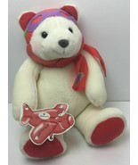 "Hallmark Pilot Plush White & Red Teddy Bear Love is in the Air 14"" Valen... - $24.70"