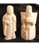 Signed Antique Asian Intricately Carved Man & Woman Figures VERY LOVELY - $195.00