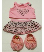 BUILD A BEAR PINK SPARKLE HEART SHIRT STRIPED SKIRT SHOES 4 PC OUTFIT SE... - $8.99